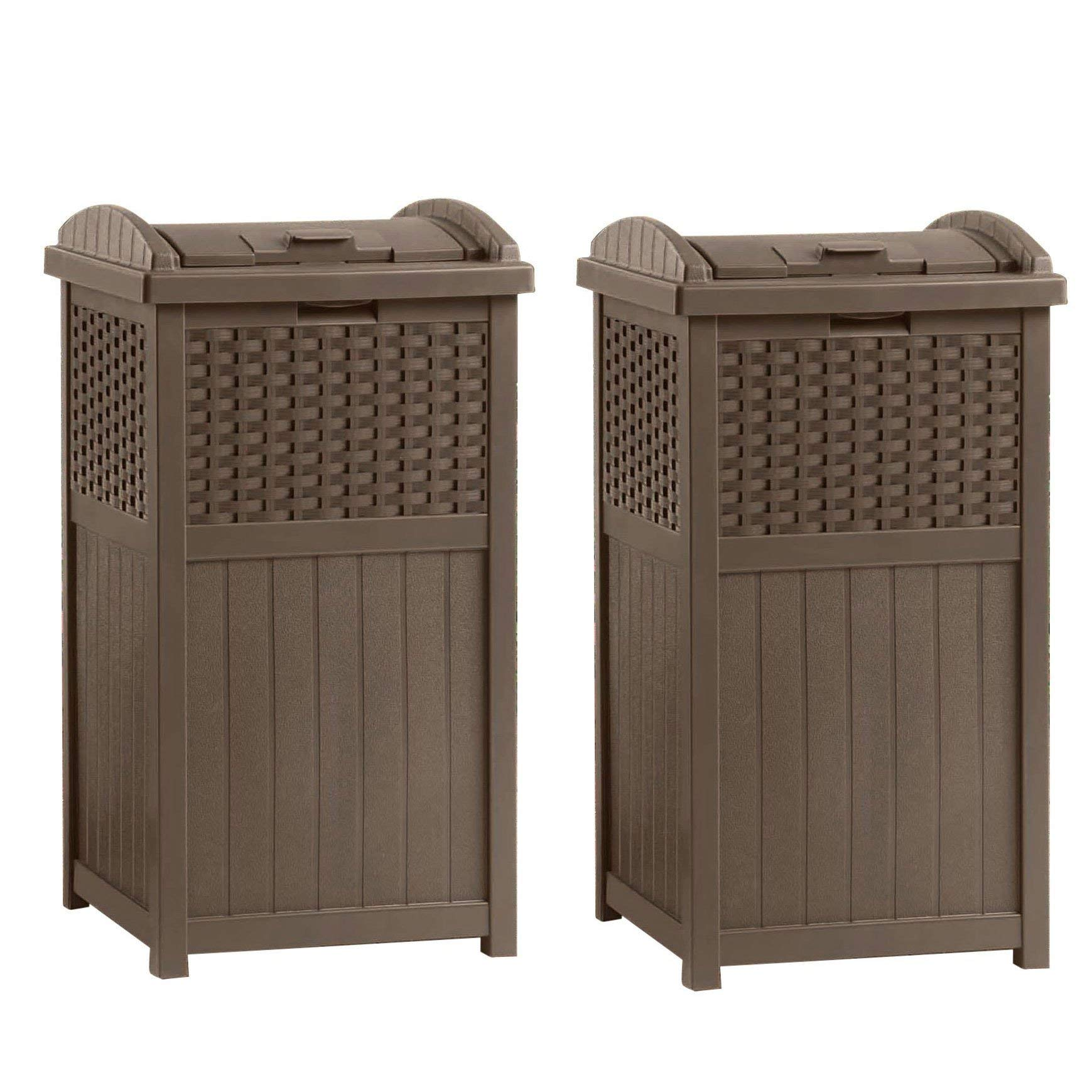 Suncast GHW1732 Home Outdoor Patio Resin Wicker Trash Can Hideaway (2 Pack) by Suncast