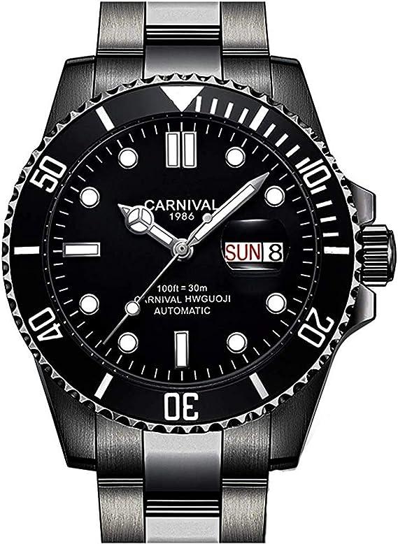 Men Automatic Watch Classic Rotating Bezel Analog Watch Men's Diver Dress Watches Day Week Luxury Watch