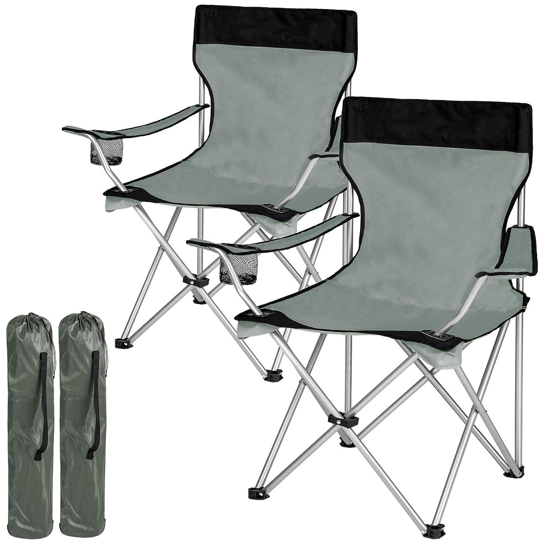 2x Noir-gris   no. 401248  TecTake Chaise de Camping Fauteuil Pliable avec Porte-Boisson et Sac de Transport - diverses Couleurs et quantités au Choix -