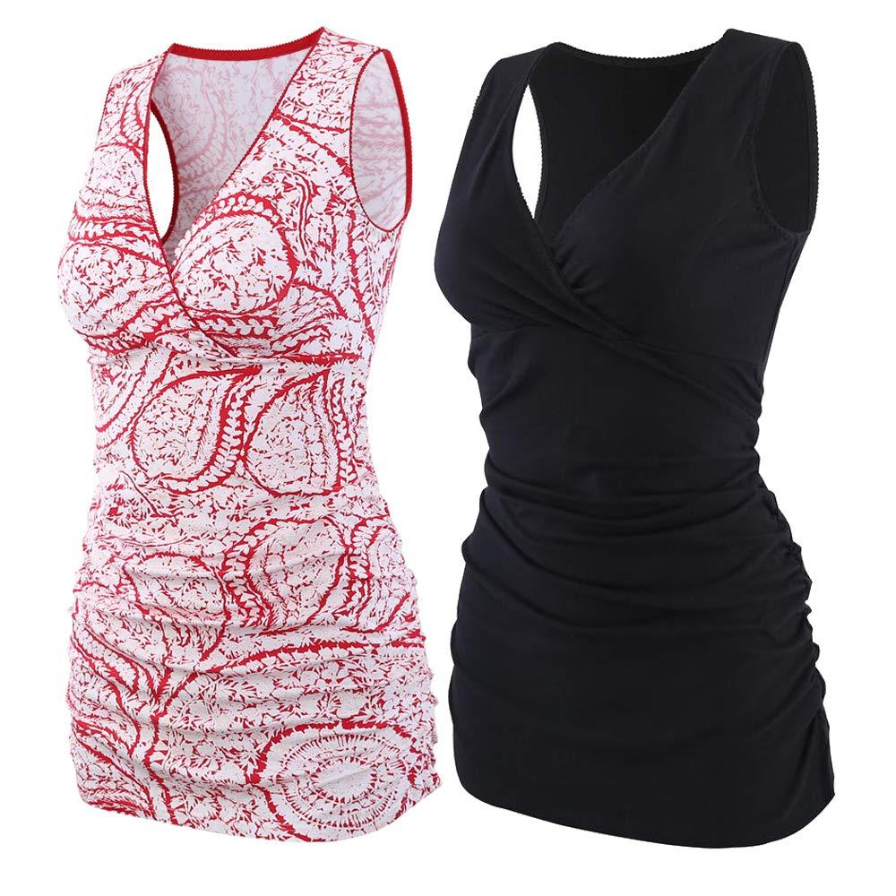 ZUMIY Nursing Maternity Top, Pregnant Breastfeeding Shirt, Women's Cotton V Neck Ruched Waist Double Layered Summer Tank