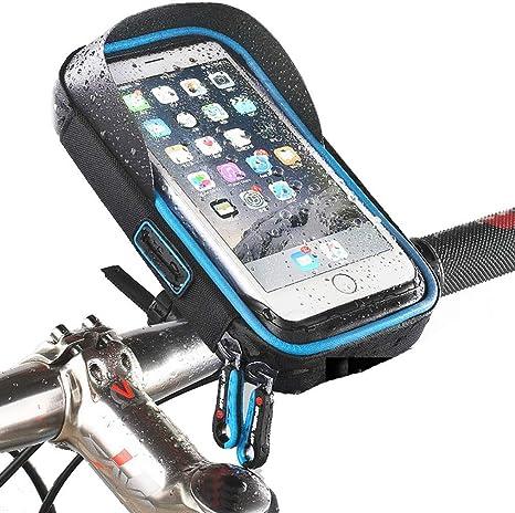 Wasserdichter Fahrradtasche Rahmentaschen für Smartphones mit Kopfhörerloch