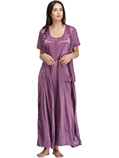 Clovia Women s Star Printed Satin Nighty   Mesh Robe ... a0df532c1