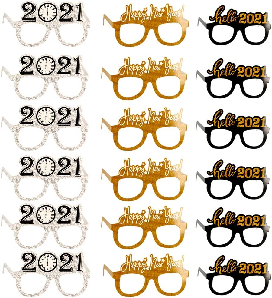 Pack of 18 Happy New Year Eyeglasses 2021 New Year Party Glasses Celebration Party Favor Decoration Eyeglasses Frame Photo Props for Kids Adult