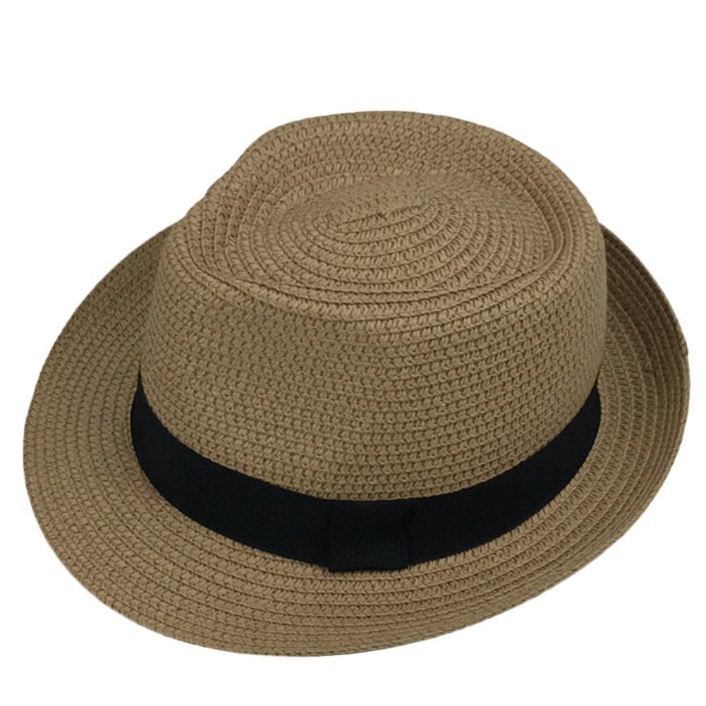 Cdet 1X Children Unisex Kid Panama Summer Fedora Trilby Straw Sun Beach Hat Unisex Summer Jazz Cap