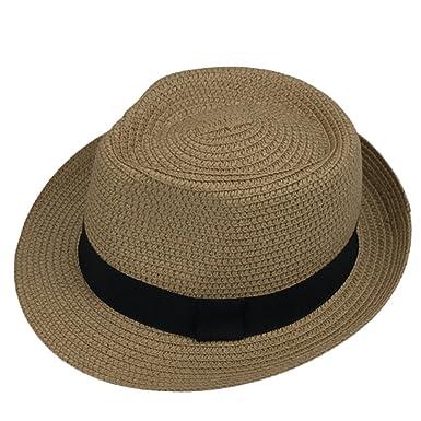 Leisial Bebé Niños Verano Sombrero de Jazz Paja Hueco Gorro Protector Solar Sombrero de Playa Sol al Aire Libre Caqui: Amazon.es: Ropa y accesorios