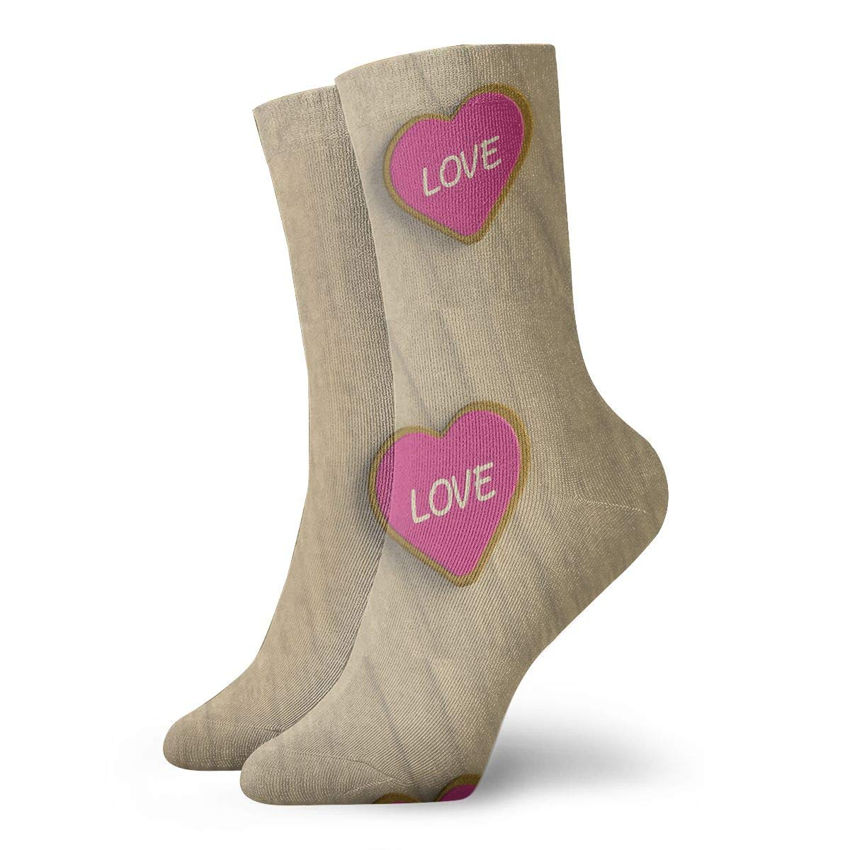 Isolated Valentines Day Cookie Fashion Dress Socks Short Socks Leisure Travel 11.8 Inch