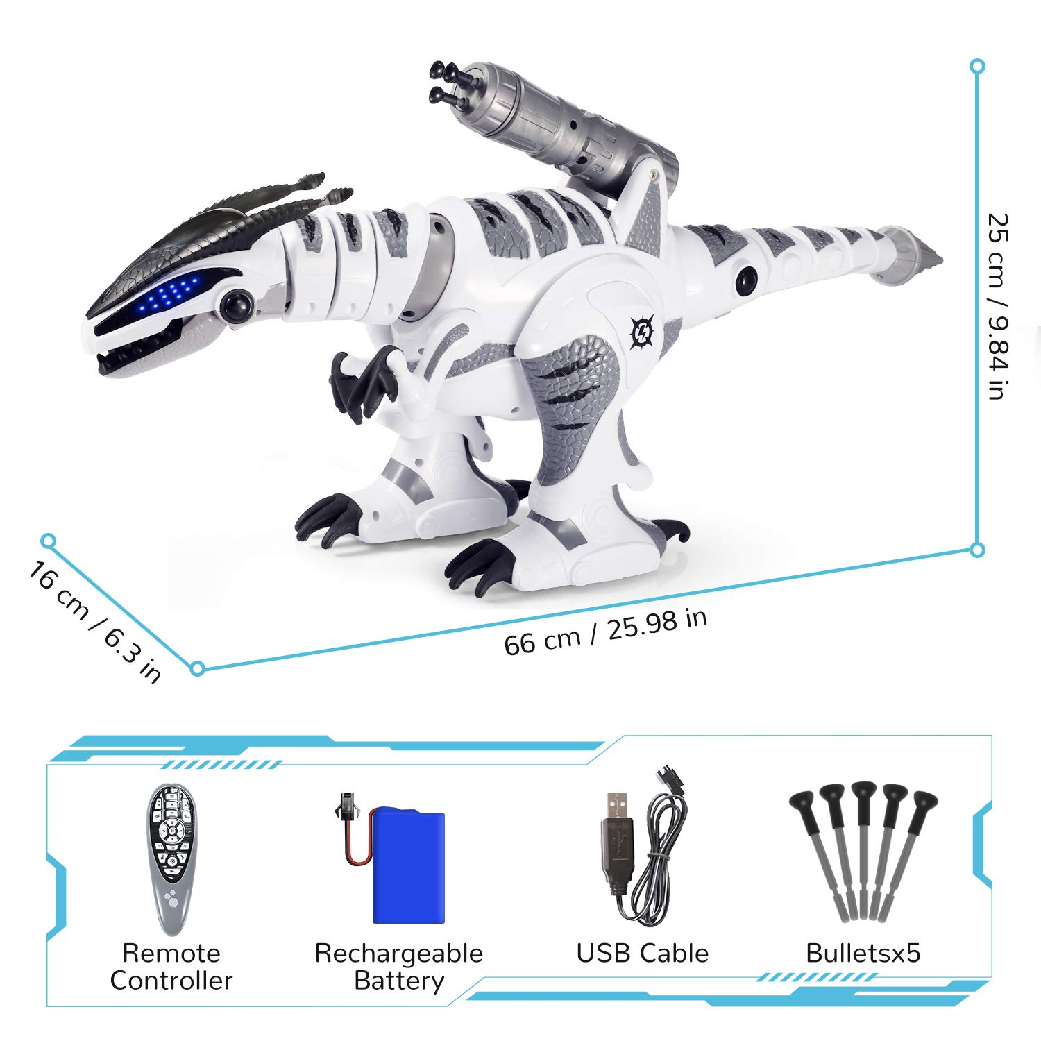 SGILE RC Dinosaur Robot Toy, Smart Programmable Interactive Walk Sing Dance for Kids Gift Present by SGILE (Image #6)