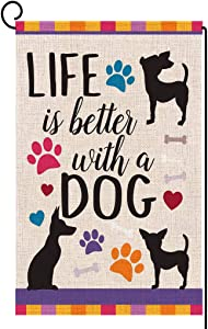 ORTIGIA Life is Better with Dog Garden Burlap Flag Yard Decor 12.5x18inch