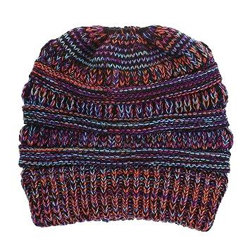 Mishuai Gorros de Invierno de Las Mujeres Baggy Caliente de Punto de Ganchillo  Beanie Skull Slouchy 6e8edebd12d