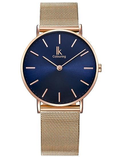 Alienwork Navy Blue Reloj Unisex Relojes Mujer Hombre Acero Inoxidable Oro Rosa Analógicos Cuarzo Azul Impermeable: Amazon.es: Relojes