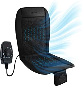 Car Seat Cooler Cushion 12V- Zento Deals air conditioned ventilated seat mattress pad, Cool Black Air Seat Cushion Perfect for Sweaty Back on Intense Summer Days