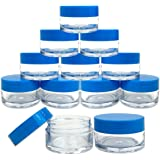 Beauticom 12 Pieces 20G/20ML Round Clear Jars with Blue Lids for James, Honey, Cooking Oils, Herbs and Spices - BPA Free