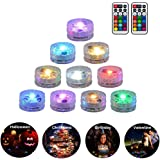10 Pack Submersible LED Lights Remote Controlled Underwater Tealight Waterproof Multicolored RGB Lights Battery Operated…