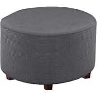 Jiyaru Round Ottoman Stool Cover Footstool Protector Covers Storage Stool Slipcover Stretch Ottoman Covers for Living…