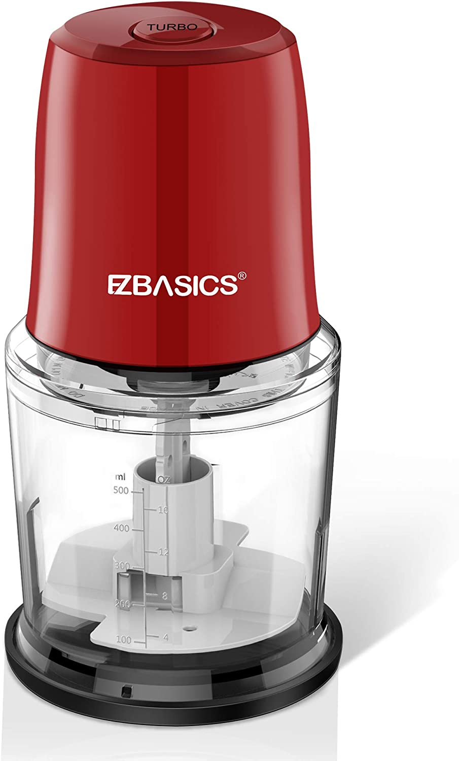 EZBASICS Food Processor, Electric Food Chopper for Vegetables, Fruits, Nuts, Ice Cubes, 2 Speed Kitchen Grinder With Sharp Blades, 2 Cup Capacity (Red)