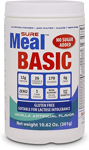 SureMeal Basic Meal Replacement, Vanilla 7 Servings Pack of 6 Bottles, Total 42 Servings