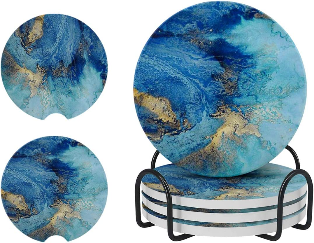 Blue Coasters for Drinks Absorbent with Holder, Blue Marble Style Ceramic Stone Coasters for Kinds of Cups ,4 Pack 4