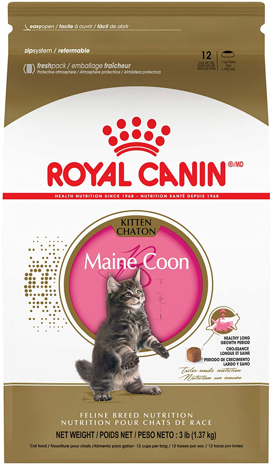 Royal Canin Maine Coon Breed Dry Kitten Food, 3 lb, 550203