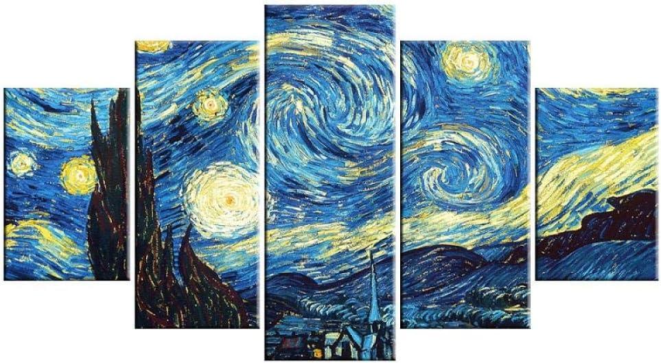 WYXYD Impresiones Sobre Lienzo 5 Cuadros En Lienzo 200*100Cm Famoso Azul Abstracto Fresco Cielo Estrellado Decoración Pintura Cartel Arte De La Pared Hd Imprimir Imagen Arte De La Pared Lienzo Pintura