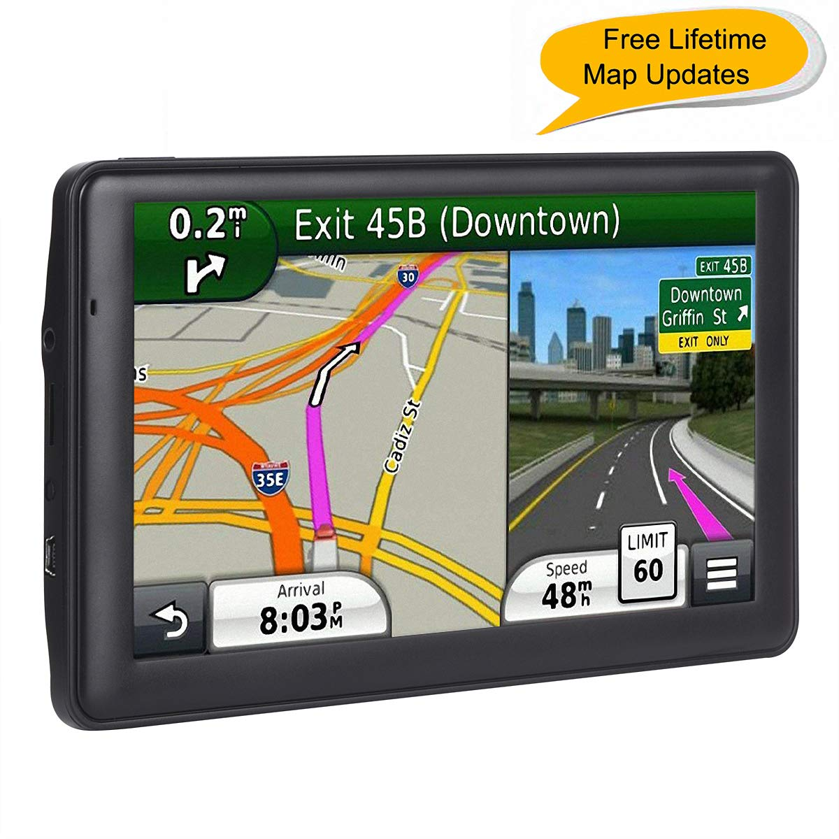 Car GPS, 7-inch Portable Navigation System for Cars, Lifetime Map Updates, Real Voice Turn-to-Turn Alert Vehicle GPS Sat-Nav