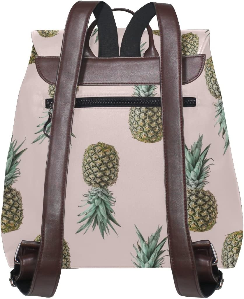 KUWT Pineapple PU Leather Backpack Photo Custom Shoulder Bag School College Book Bag Rucksack Casual Daypacks Diaper Bag for Women and Girl