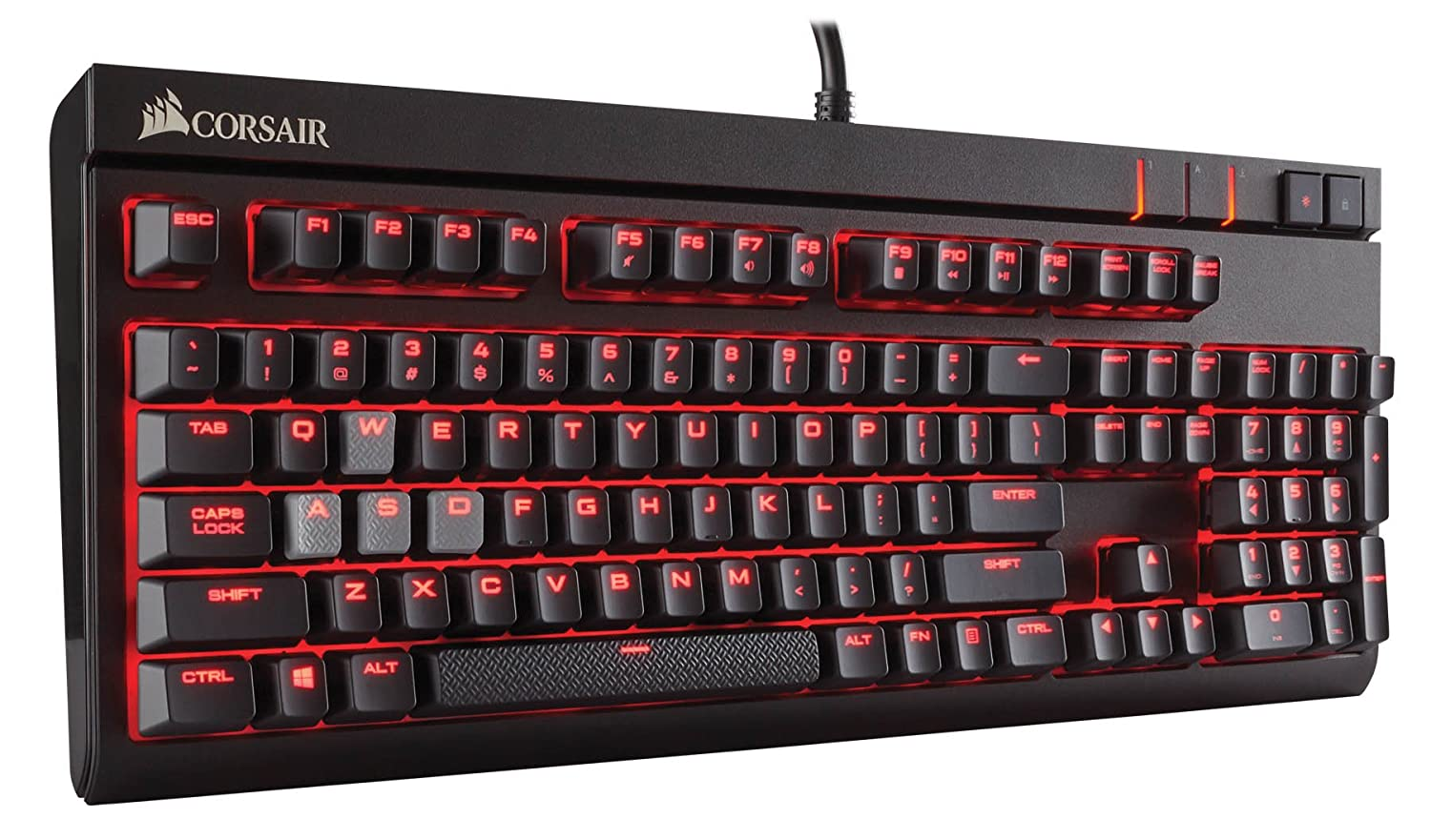 CORSAIR Strafe Mechanical Gaming Keyboard – Red LED Backlit – USB Passthrough – Tactile and Quiet – Cherry MX Brown Switch CH-9000092-NA