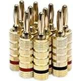 Monoprice 109436 Gold Plated Speaker Banana Plugs – 5 Pairs – Closed Screw Type, For Speaker Wire, Home Theater, Wall Plates And More
