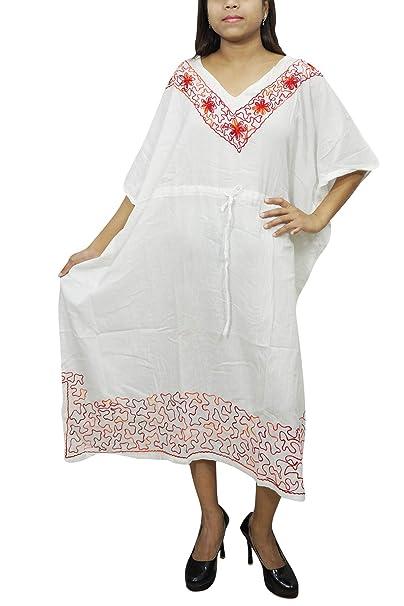 de1579c096 Image Unavailable. Image not available for. Color  Mogul Interior Womens  Kaftan Maxi Dress White Embroidered Cotton Gauze Boho Caftan L
