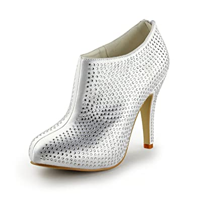 TH13131 Womens Stiletto High Heel Satin Crystals Evening Parting Bridal Wedding Dress Ankle Boots