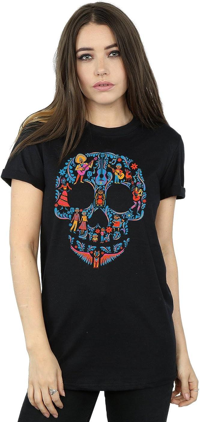 TALLA 3XL. Disney Mujer Coco Skull Pattern Camiseta del Novio Fit