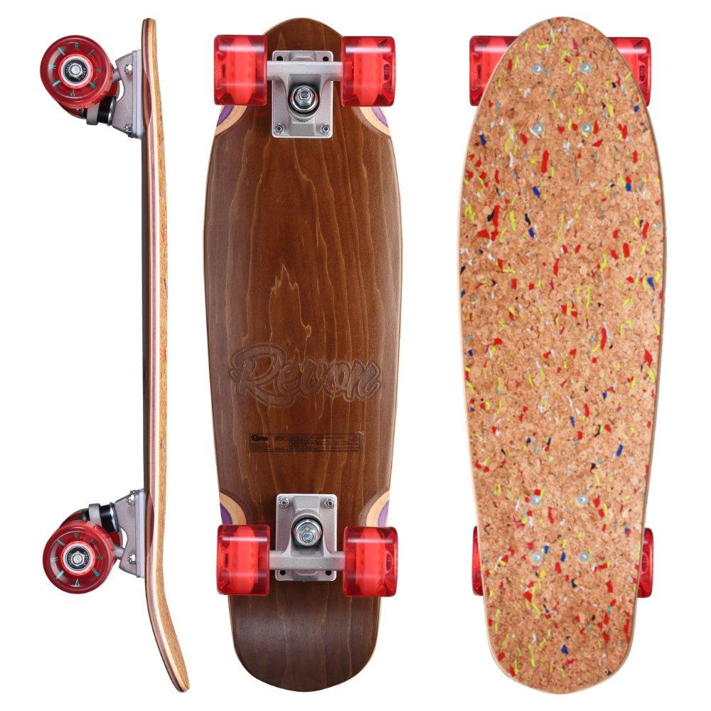 Revon Kork Cruiser Skateboard mit kick Tail, Komplettboard aus hochwertigen 7 Layer Canadian Maple mit ABEC9 Kugellager City Rider Sports GmbH RVN-CK0485 Cork