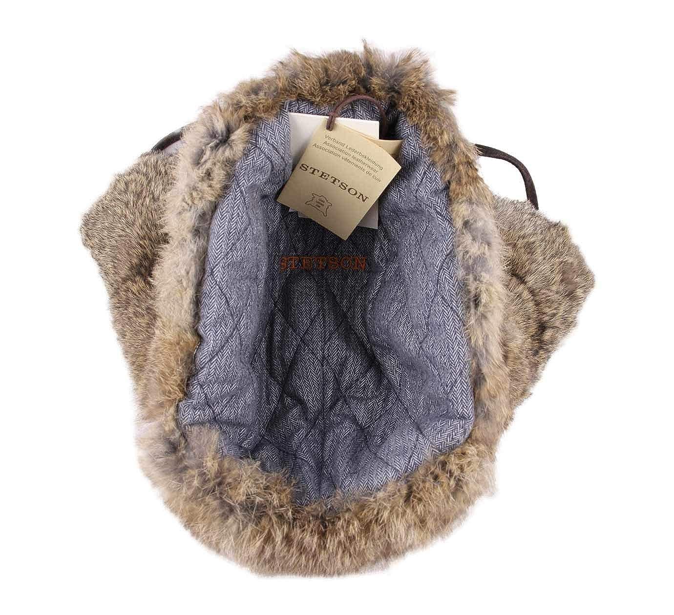 2b68d14a7 Stetson - Trapper Hat Leather Men Bomber Cap Pigskin/Rabbit - Size L ...