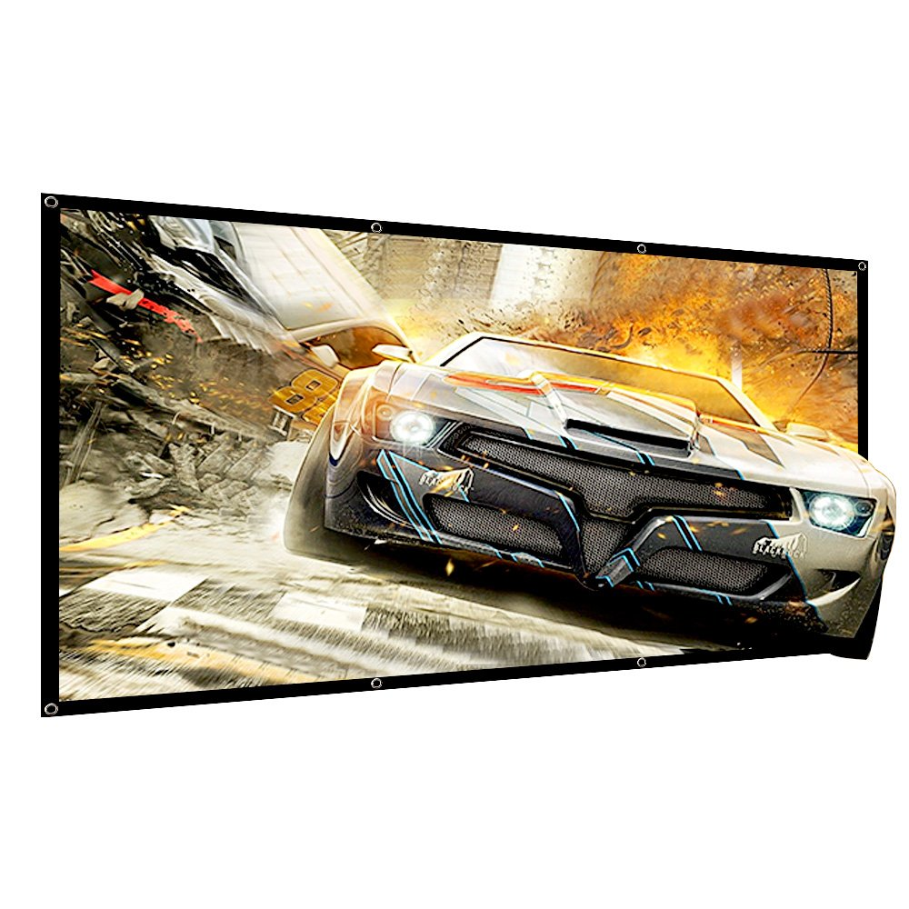 120 inch Projector Screen Portable Outdoor Movie Projection Screens 16:9 HD 4K Home Theater Indoor Office tuscreen(Wrinkle-Free Easy-Installation)