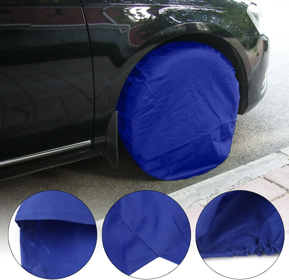Qiilu 4pcs 32 Inch Wheel Tire Covers Car Wheel Protective Covers for RV Truck Car Camper Trailer Blue