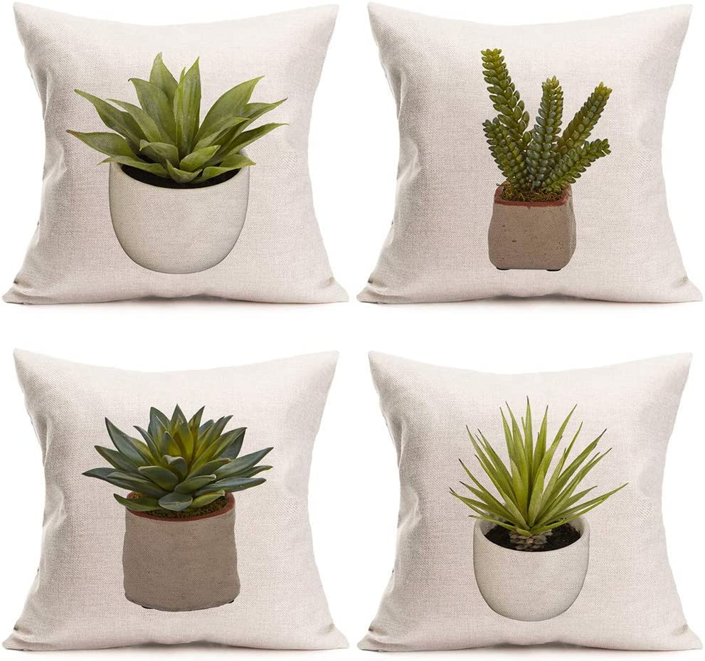 ShareJ Decorative Pillows Covers Set of 4 Green Plant Pot Bonsai Throw Pillow Covers Cotton Linen Modern Home Cushion Covers for Sofa, 18 x18 Inches