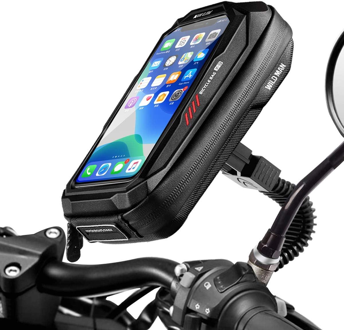 Faneam Impermeable Soporte Móvil para Motocicle Scooter 360° Rotación Soporte Telefono Motocicleta Retrovisor Universal Soporte para Teléfonos Moto con Pantalla Táctil Sensible hasta 6.5