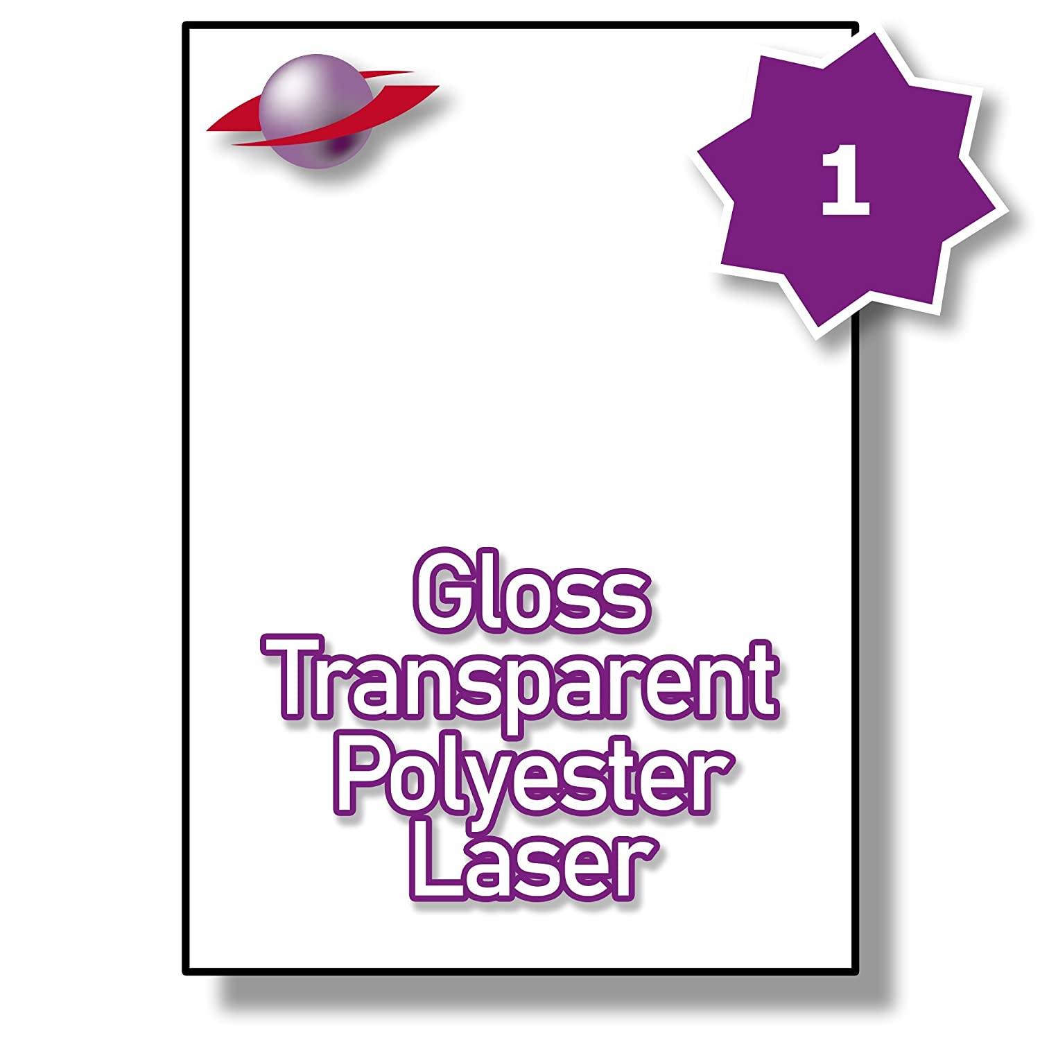 1 Per Page/Sheet 10 Sheets (10 TRANSPARENT Sticky Labels) Label Planet® CLEAR POLYESTER Self-Adhesive Blank A4 Gloss WATERPROOF Printable Address Shipping Mail Stickers, For Laser Printer, 210 x 297 MM UK LP1/210 GTP, Multi-Use/Purpose