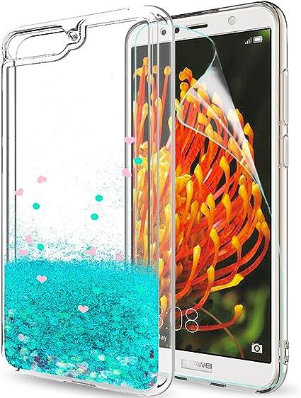 LeYi Coque Huawei Y6 2018 Etui avec Film de Protection écran, Fille Personnalisé Liquide Paillette Flottant Transparente 3D Silicone Gel TPU Antichoc ...