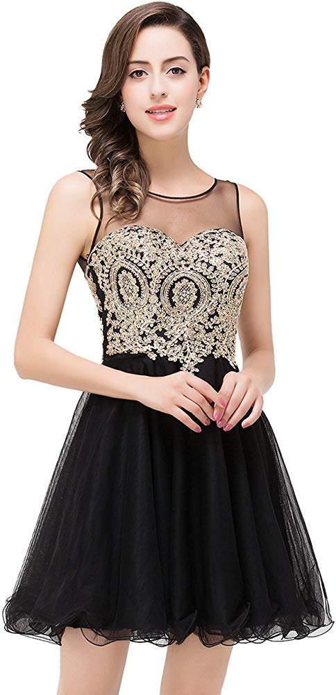 MisShow 2019 Womens Cocktail Dresses Crystals Applique Short Prom Dresses