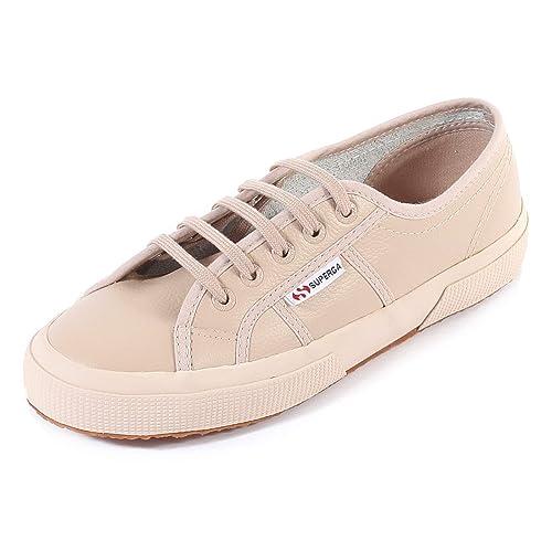 3d84b602454 Superga Women s 2750 Efglu Leather Lace Up Trainer Full Nude  Amazon.co.uk   Shoes   Bags
