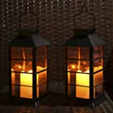 Tomshine Mini LED Solar Lantern Light Rechargeable Garden Flameless Candle Light Plastic Waterproof for Patio Courtyard…