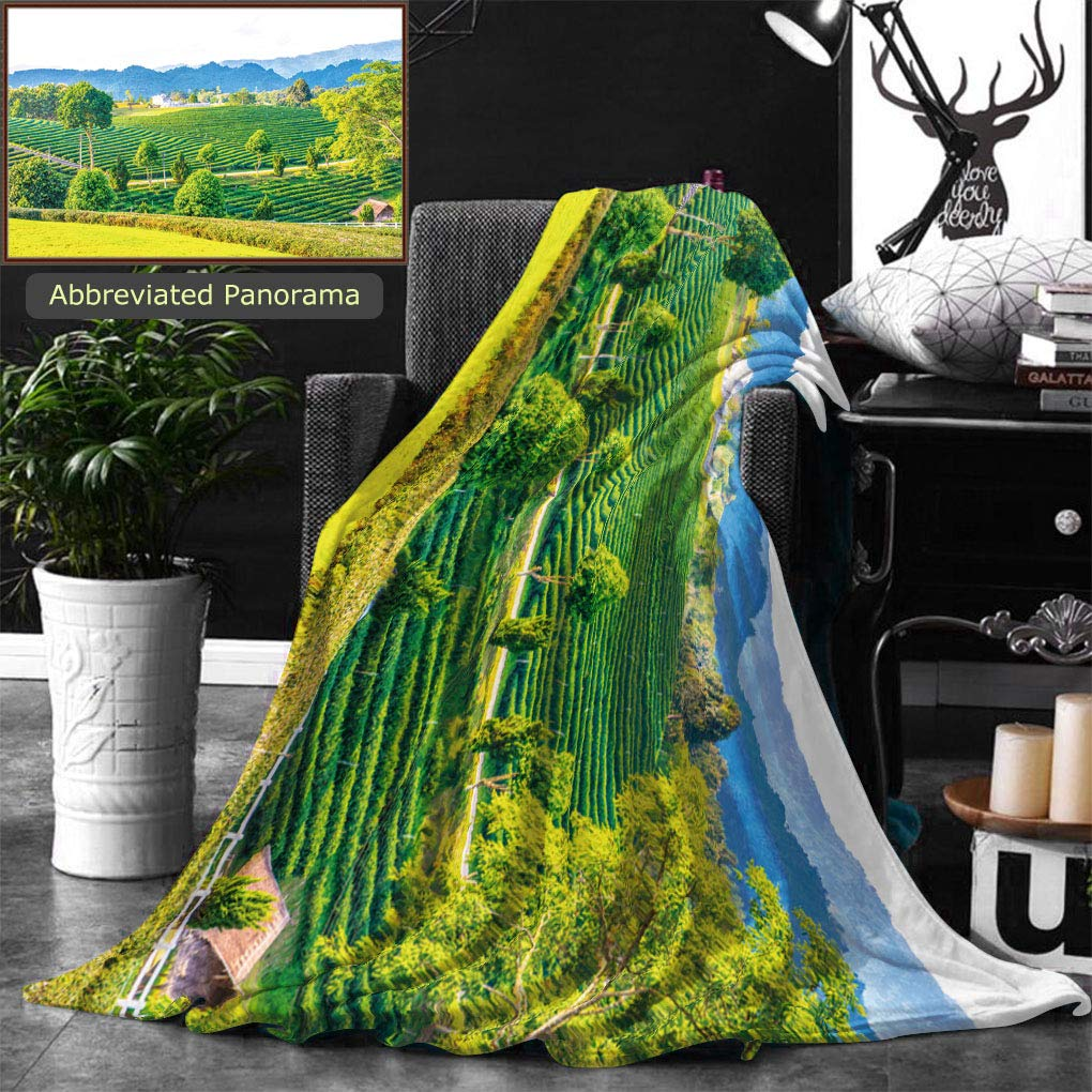 Ralahome Unique Custom Double Sides Print Flannel Blankets Landscape View Of Tea Farm In Thai Thailand Super Soft Blanketry for Bed Couch, Throw Blanket 60 x 40 Inches by Ralahome
