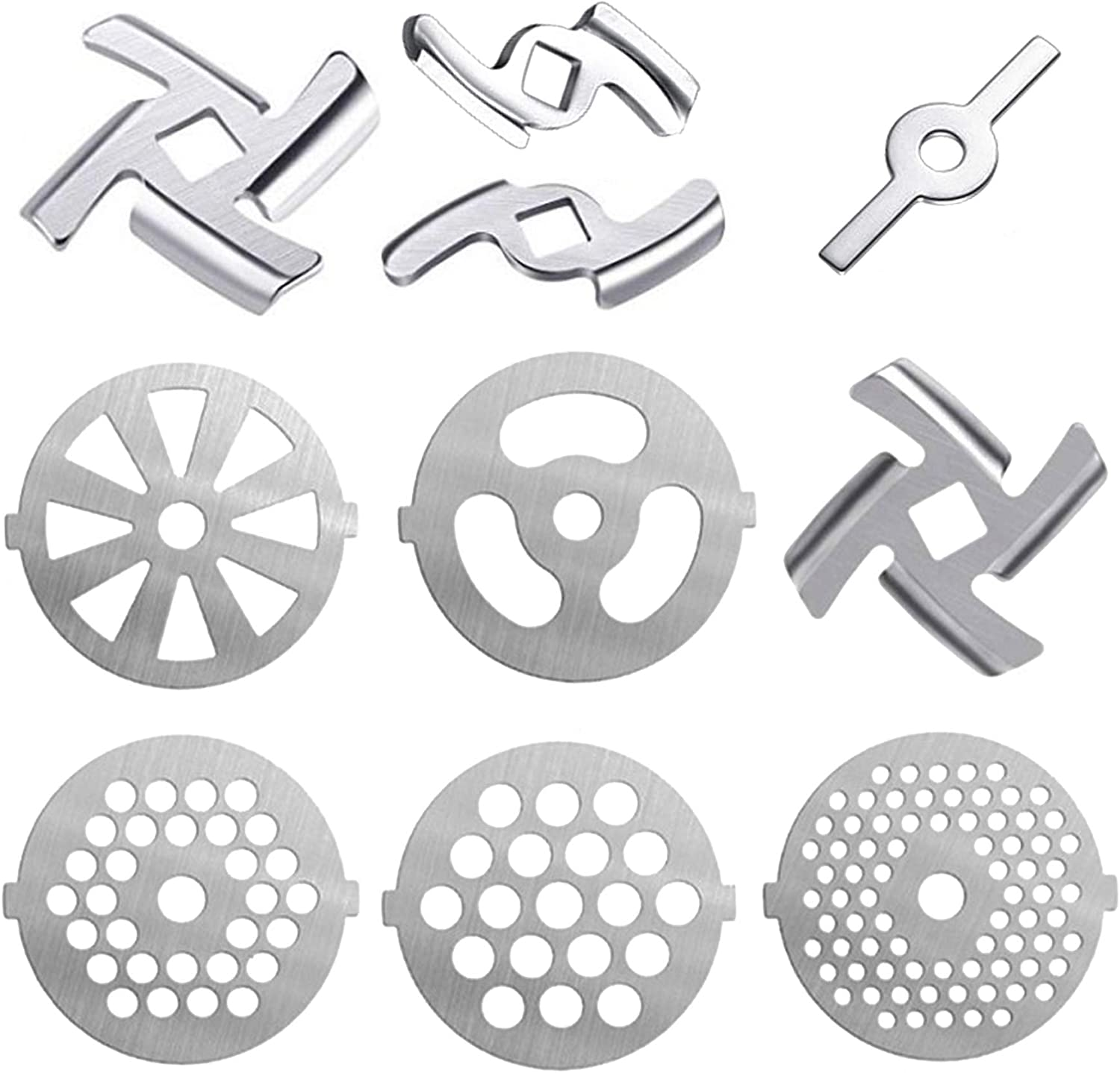 Gogmooi 10 Pcs Meat Grinder Parts Blades, Stainless Steel Food Grinder Accessories, Meat Grinder Attachment for Size 5 Stand Mixer and Meat Grinder Accessories