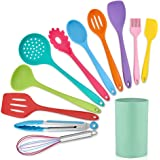 LIANYU 12-Piece Silicone Kitchen Cooking Utensils with Holder, Kitchen Tools Set Include Slotted Spatula Spoon Turner Ladle T