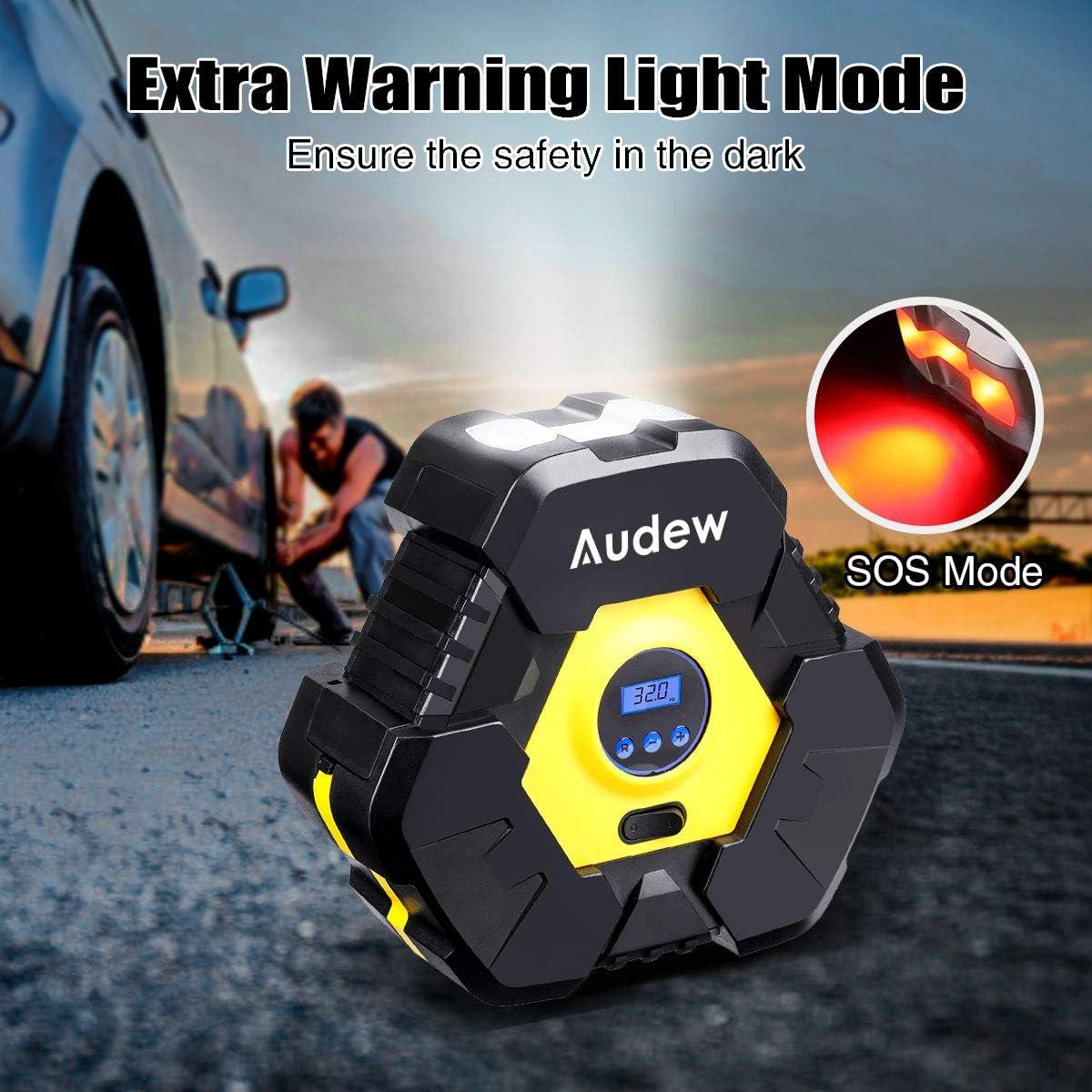 Audew Pumpe Elektrische Luftkompressor Pumpe Auto Digitale Luftkompressor 12V 150PSI Elektrisch Reifenpumpe Protable mit LCD-Display Motoren und Luftmatratzen Luftstrom bis zu 38 l//min f/ür Auto