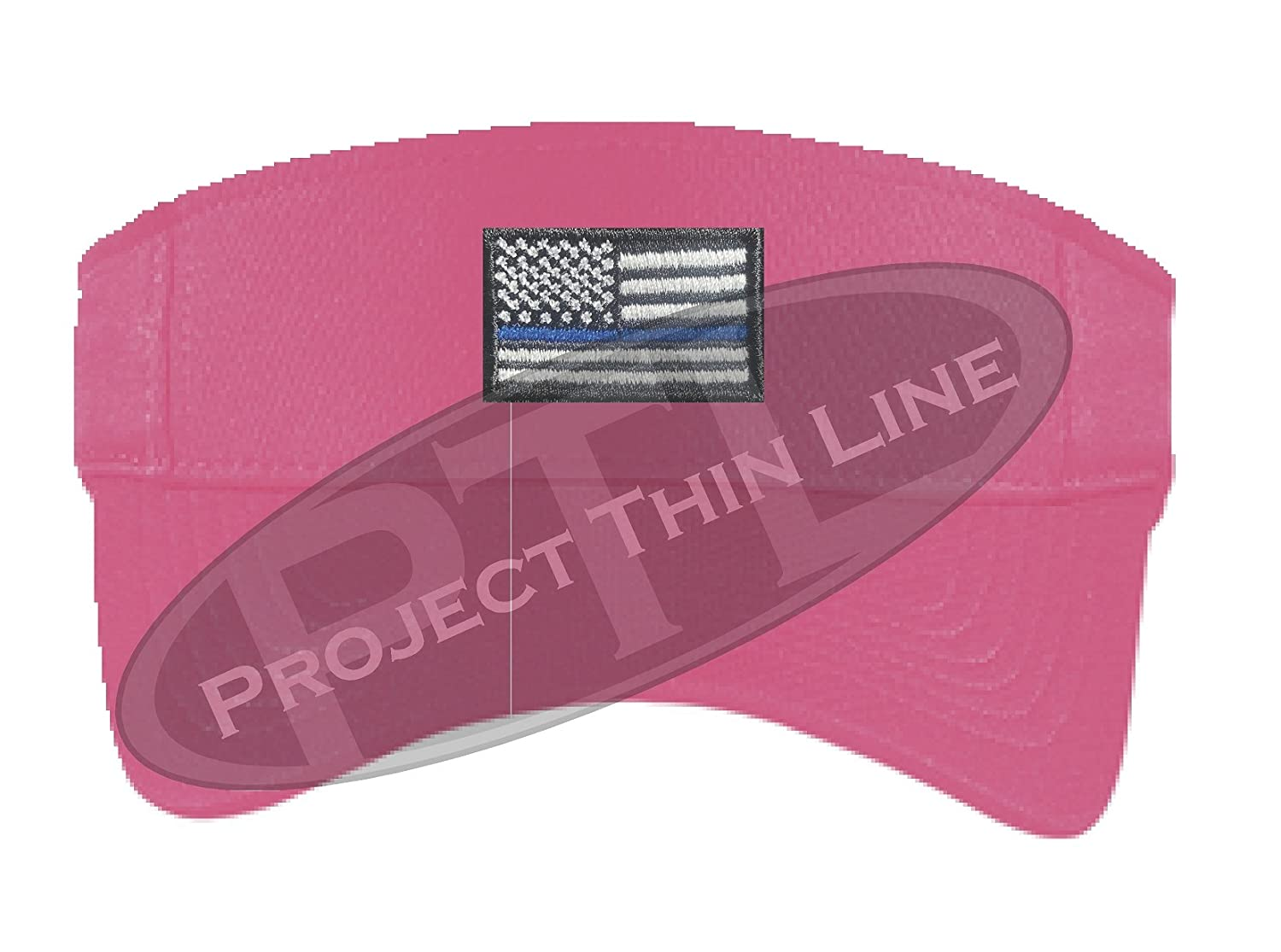 Embroidered Thin Blue Line Subdued American Flag Police Law Enforcement Sun Visor