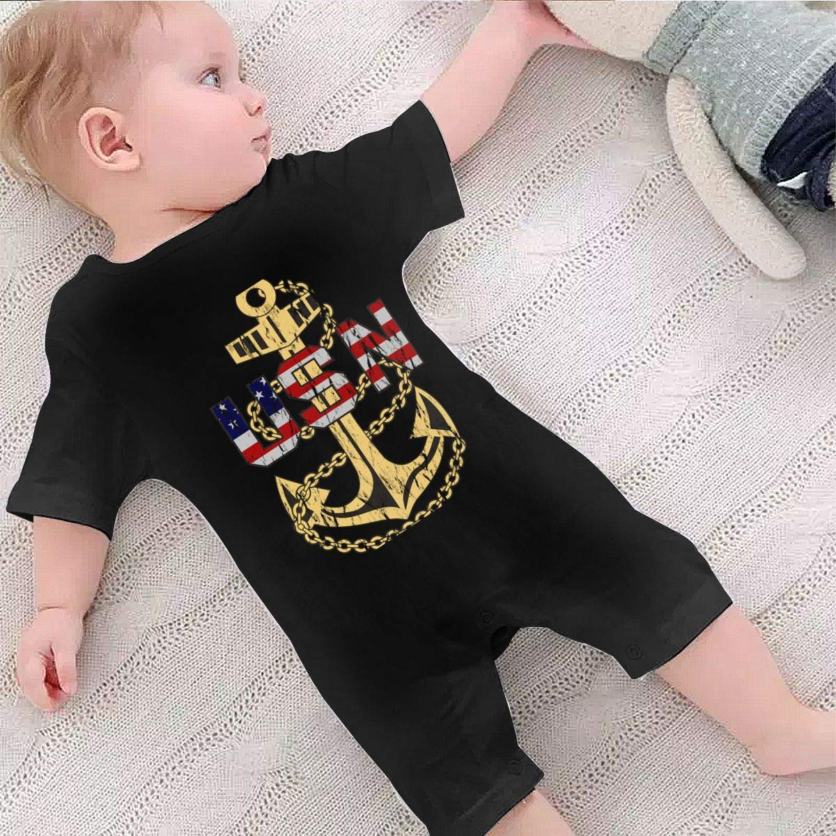 Baby Infant Boy Girl Short Sleeve US Navy Chief Petty Officer Jumpsuit Romper Pajamas Clothes Summer Outfits Black