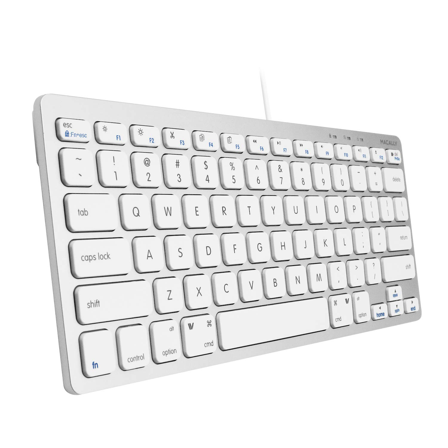Aluminum Silver Compatible with Apple Mac Mini//iMac Desktops MacBook Pro//Air Laptops and Windows PC Notebook Computers Macally USB Wired Compact Keyboard Small /& Slim Design Aluminum