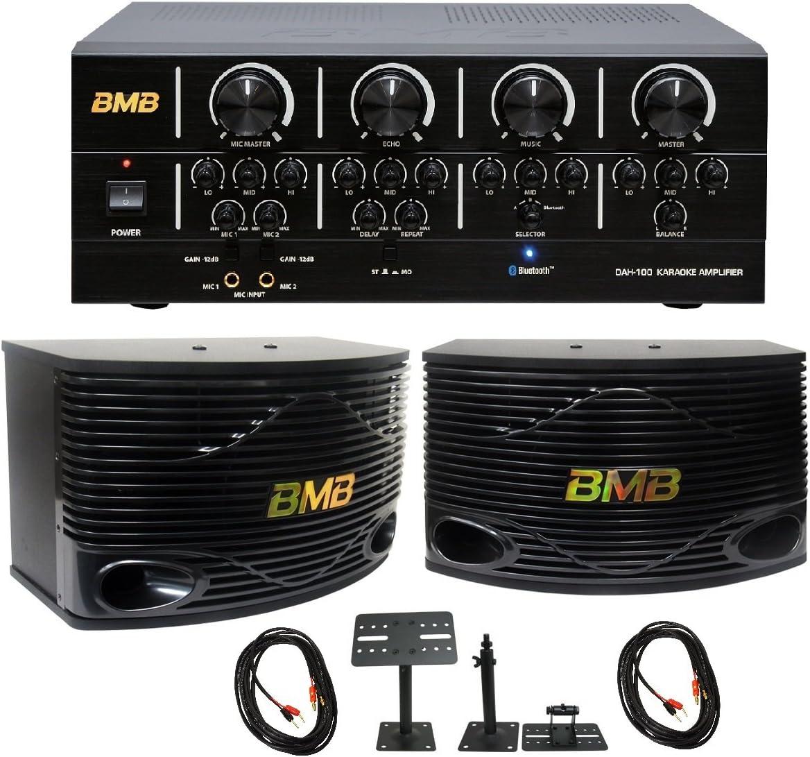 Pair Pair Package w//Speaker Mount Speaker Cable OFC and 15ft Pin to Banana Plugs Pair BMB DAH-100 200W Amplifier /& BMB CSN-300 8 3-Way Karaoke Speaker