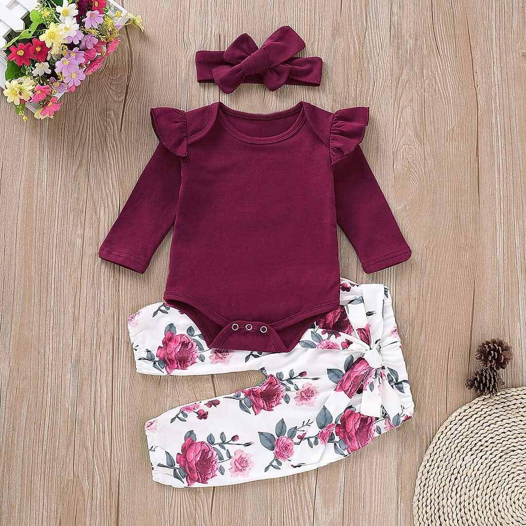 Kleinkind Baby M/ädchen mit langen /Ärmeln Strampler Stirnb/änder Set Outfits ABsoar Floral Hosen